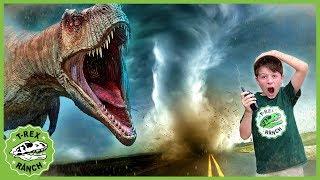 Dinosaur Escape Adventure! Park Rangers See Tornado IRL & Open Dinosaurs Surprise Toy