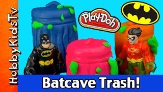 Play-Doh Trashcan Surprise Eggs Imaginext Batcave by HobbyKidsTV