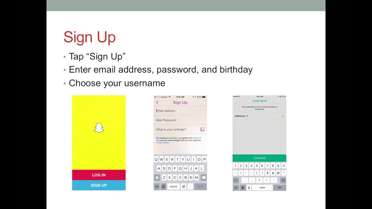 Snapchat sign up create account - Create A Snapchat Account