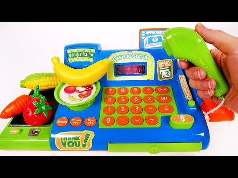 CASH REGISTER TOY PLAYSET for Children Learn Colors with Fruits and Vegetables