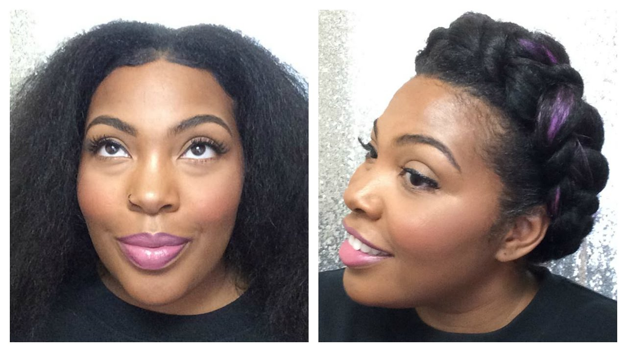 natural hair style: goddess/halo braid violet hair with weave supa