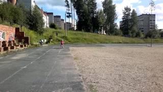 Тася. Второй день обучения езде на велосипеде. 29 июля 2014