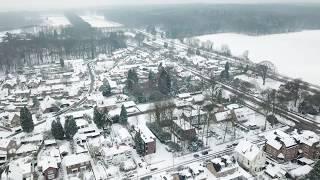 Beelden van boven Ellecom in de sneeuw januari 2019
