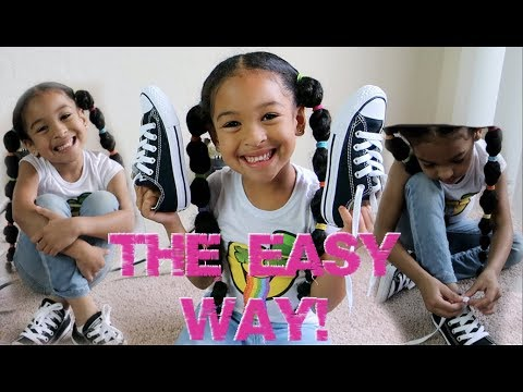EASIEST Way To Teach Your Kid How To Tie Shoes!!! *6 YEAR OLD Tying Shoe Laces!!!*