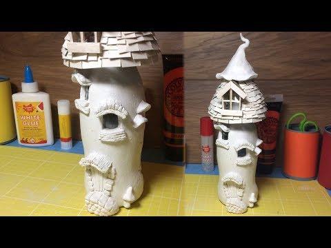 How To Make a Fantasy Mushroom House  ,Magic Mushroom, Paper Clay toadstool ,Fairy Ornament