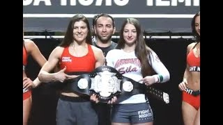 Marina Mokhnatkina vs. Liana Jojua - Weigh-in Face-Off - (Fight Nights Global 83) - /r/WMMA