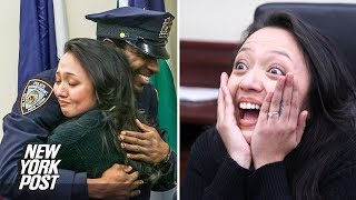 Woman Has Surprise Reunion with NYPD Officers Who Saved Her Life on Christmas | New York Post