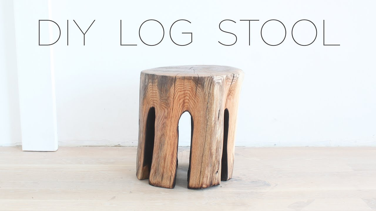 DIY Log Stool   YouTube