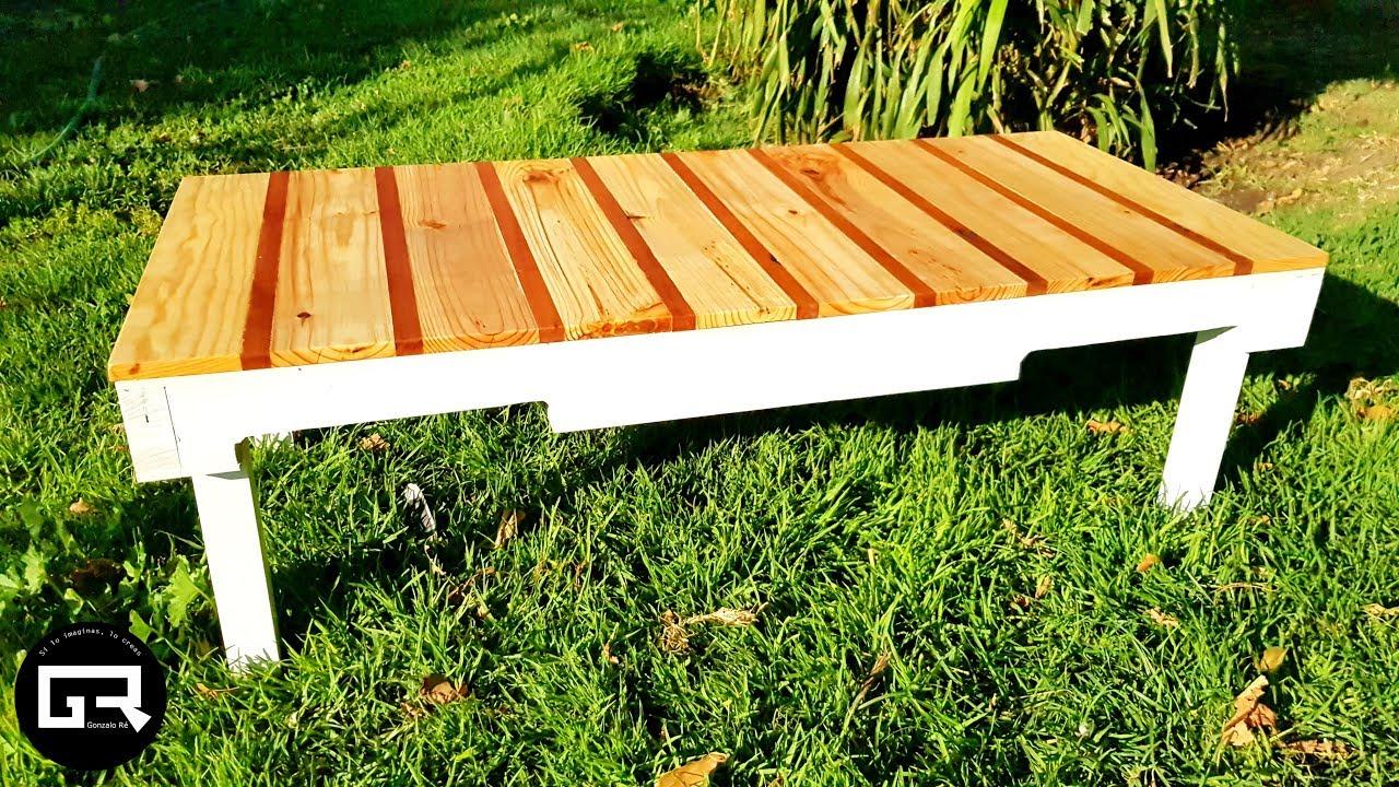 mesa de palets para jardin pallets table diy reciclado challenge 2019