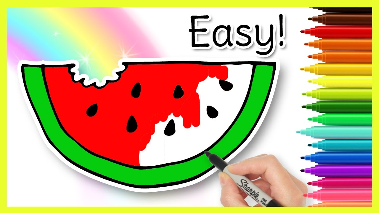 Easy WATERMELON Drawing for Kids - YouTube