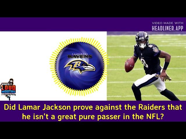 Lamar Jackson not a great pure passer?