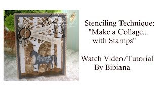 Stenciling Technique Collage Background With Stamps