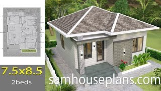 House Plans 7.5x8.5m With 2 Bedrooms Full Plans
