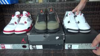 Three Colorway Nike Air Jordan 4 Army Green,White Cements,White Red Details Show