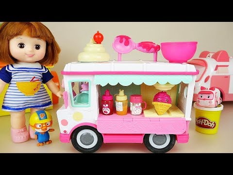 Baby doll and Play doh Ice cream truck car toys baby Doli play