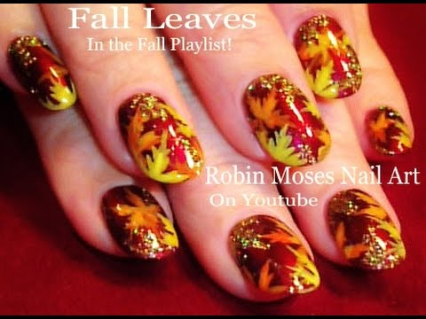 Holo Glitter Fall Leaf Nails | DIY Easy Autumn Leaves Nail Art Design - Holo Glitter Fall Leaf Nails DIY Easy Autumn Leaves Nail Art