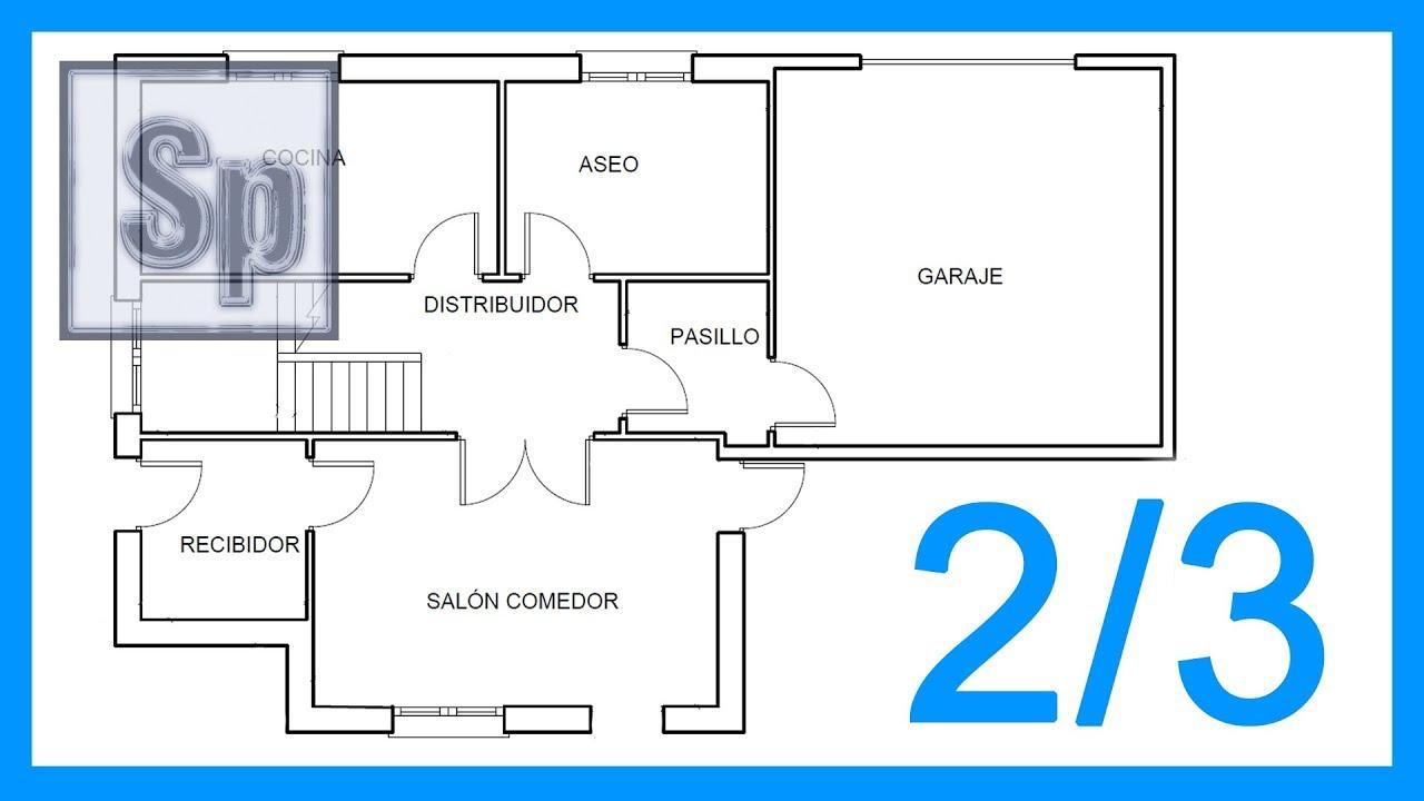Autocad 2 3 dibujar el plano de una casa paso a paso en for Como crear un plano de una casa