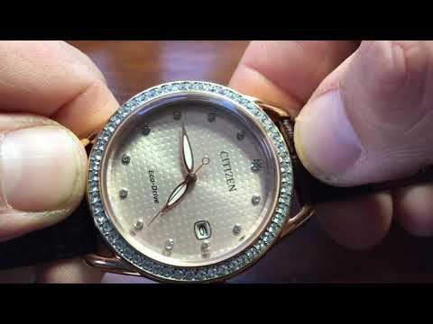 Women's Citizen Eco-Drive Rose Gold And Crystal Bezel