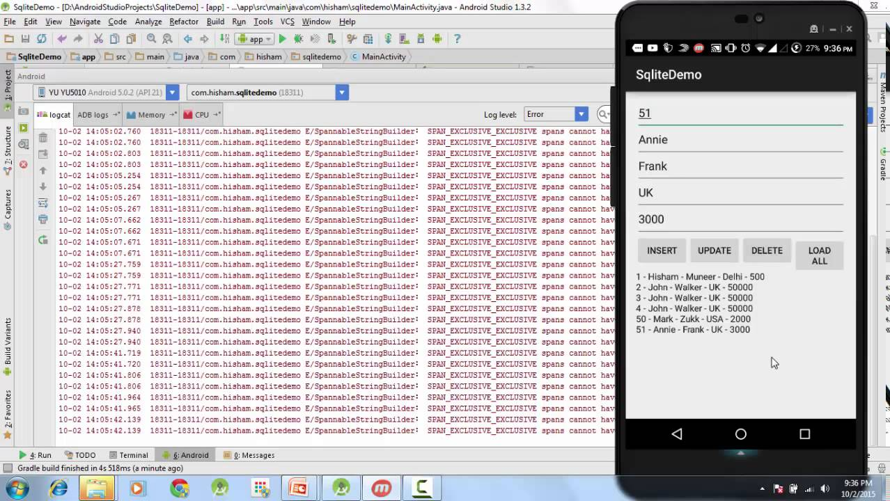 27 android sqlite tutorial finally running the app android 27 android sqlite tutorial finally running the app android studio gamestrikefo Choice Image