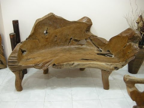 Teak Wood Bench, Teak Root Bench, Teak Slab Furniture, Indonesian Teak Wood