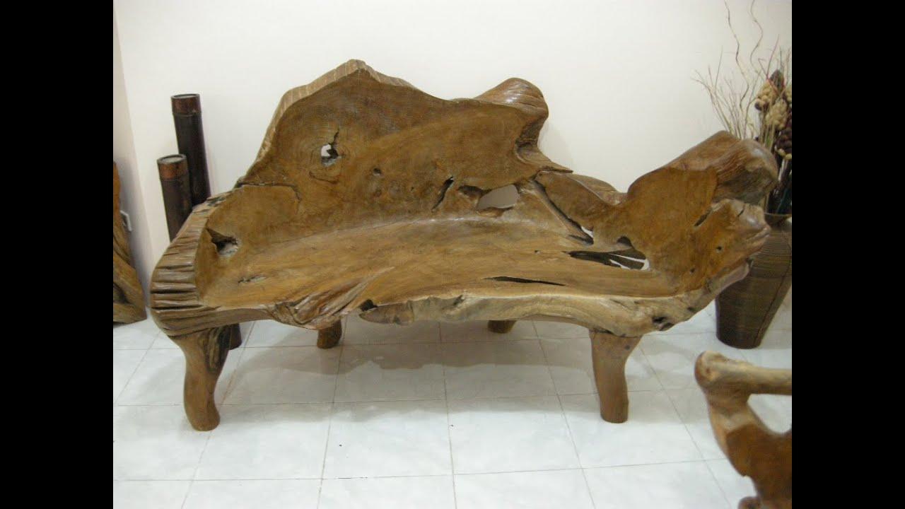 Teak Wood Bench, Teak Root Bench, Teak Slab Furniture, Indonesian Teak Wood    YouTube