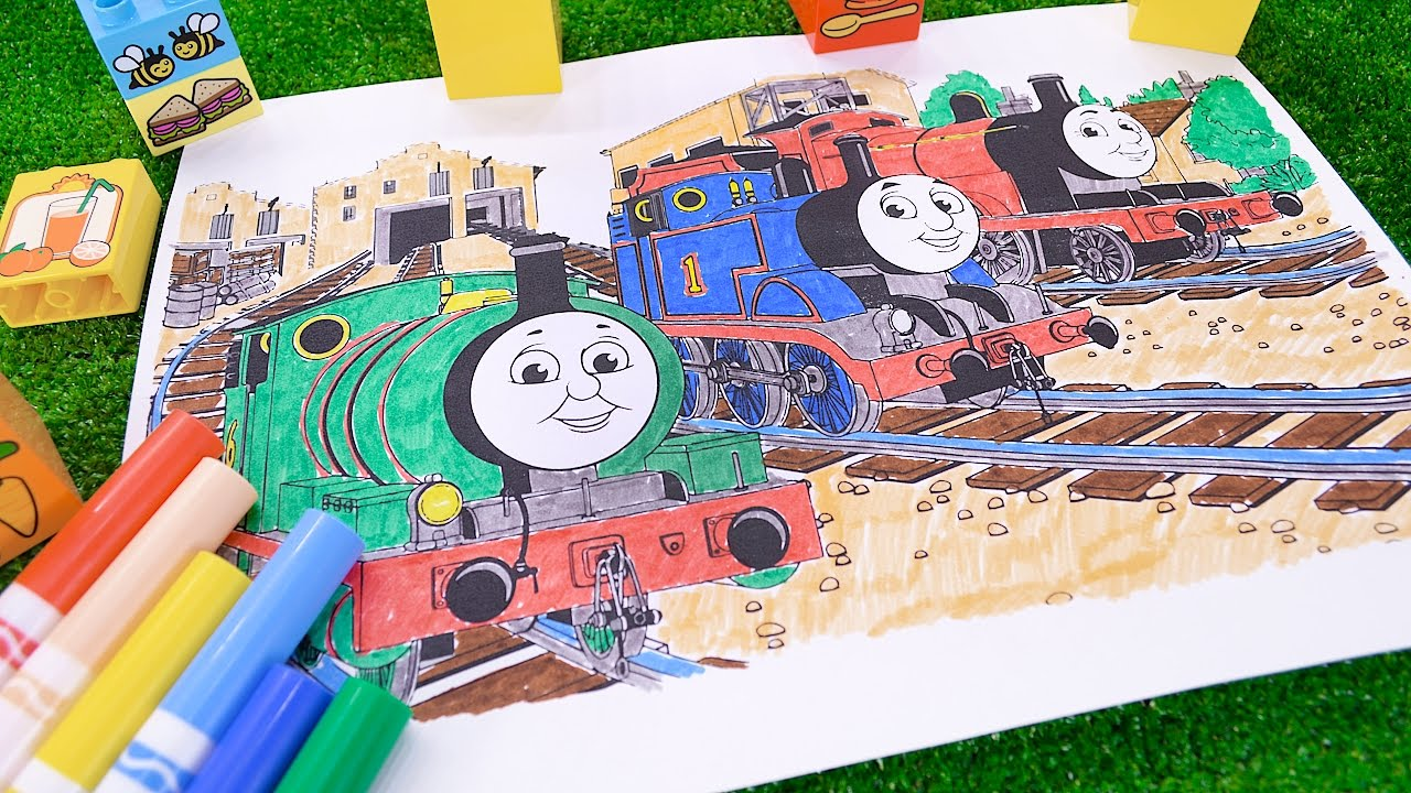 Let S Color Thomas Percy And James Coloring Video With Thomas And Friends Youtube