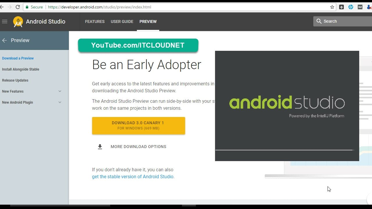 how to download install android studio 3 0 canary 1 alongside rh youtube com Android Telephones Android Logo