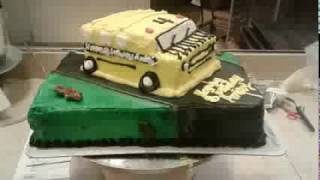 A special order cake decorated to look like a bus. I put far more e...