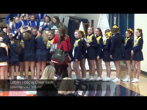 Portage Central Middle School Gold Cheer Team at 2017 Gobles Holiday Cheer Bash