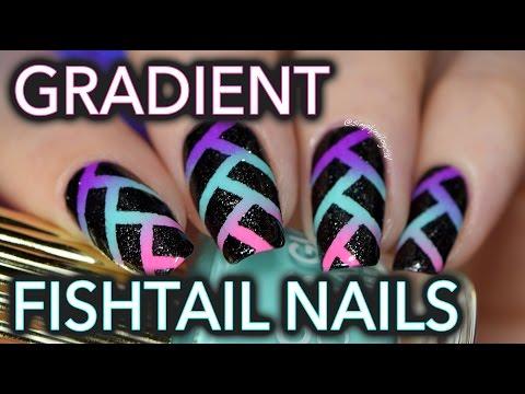 Edgy Neon Fishtail Gradient Nail Art