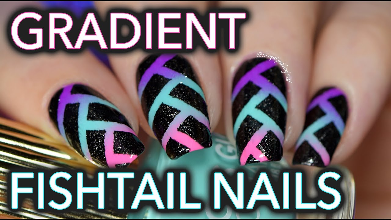 Edgy neon fishtail gradient nail art - YouTube