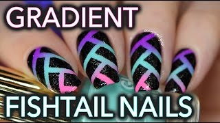 Edgy neon fishtail gradient nail art