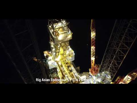 Offshore Drilling Rig Night Aerial View - Asian Endeavour Rig