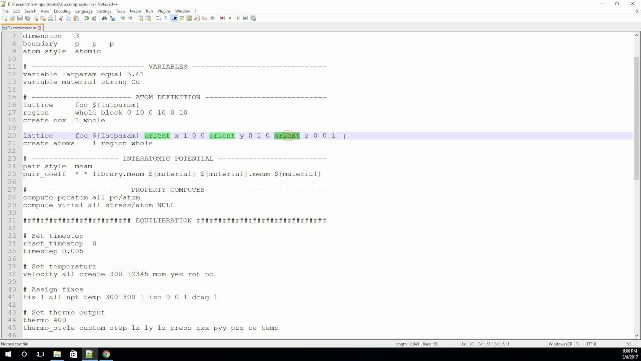 The LAMMPS Input Script - Part 1