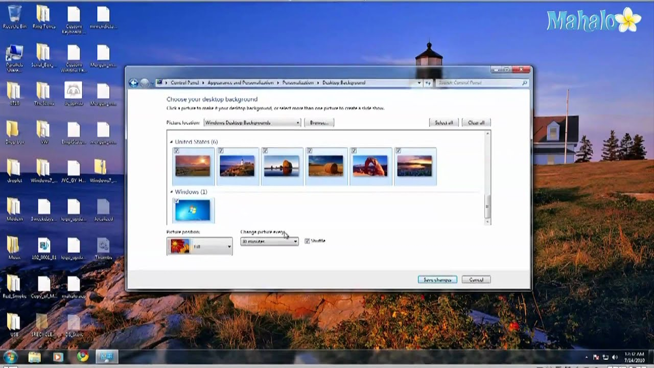how to make your background a slideshow in windows 7