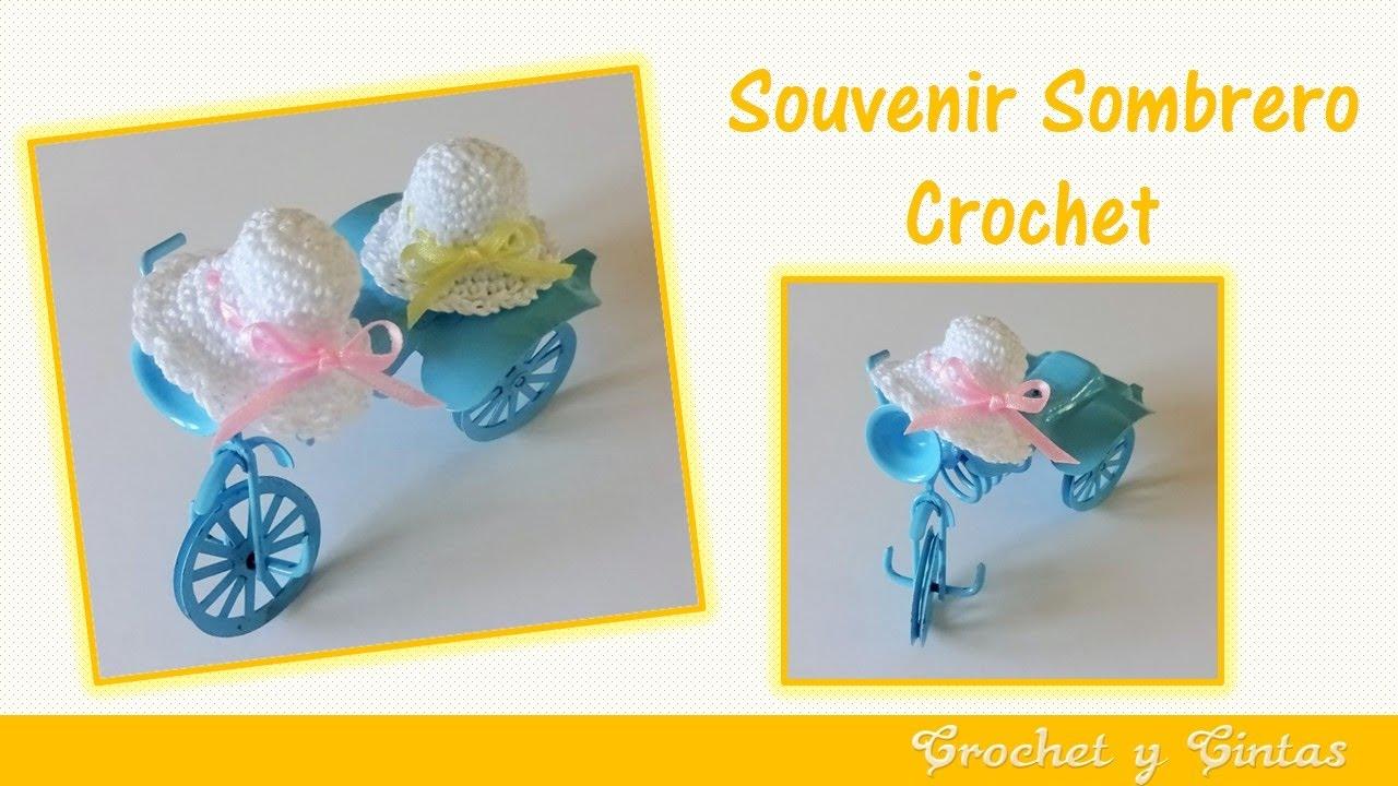 Souvenir a crochet para baby shower – bautizo sombrero paso a paso ...