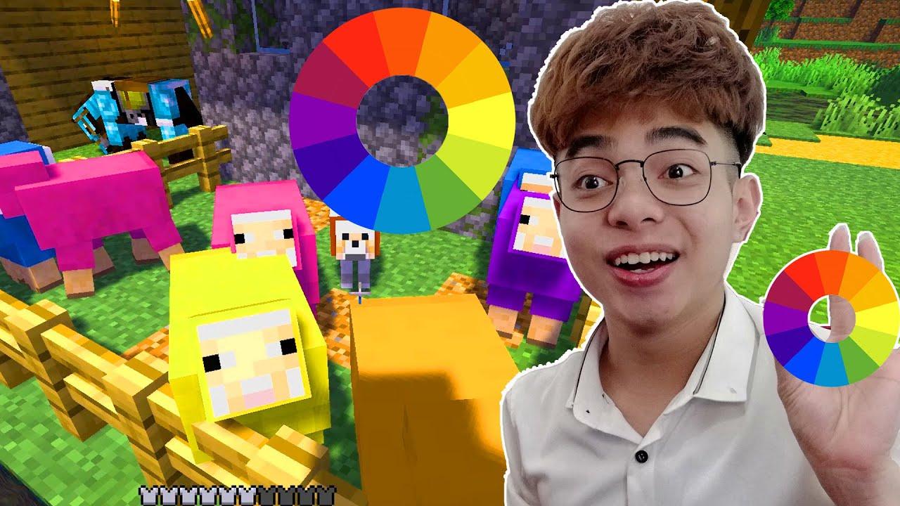 ThắnG Tê Tê Tạo Ra Con Cừu 7 MÀu Trong Minecraft