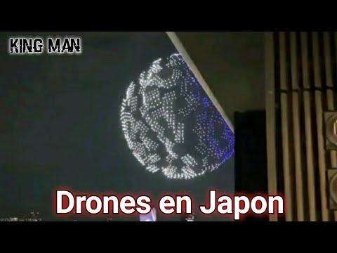 Drones sobre el Estadio Nacional de Tokio Japón forman espectacular esfera