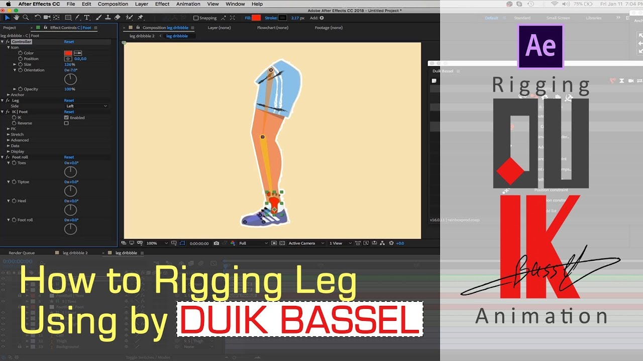 Duik After Effects Tutorial - How to Rig Leg Using by Duik Bassel 🔥🔥