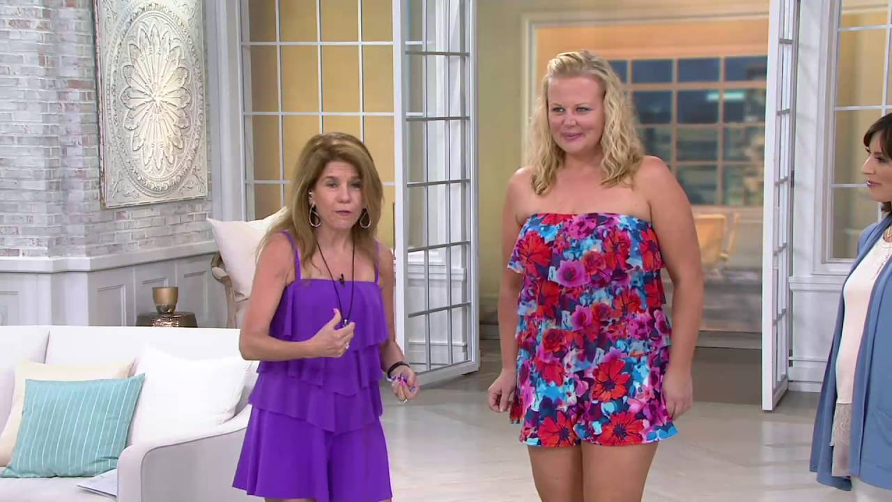 e9a0dbee7e2 Fit 4 U Bandeau V-Tiered Mesh Romper Swimsuit on QVC - YouTube