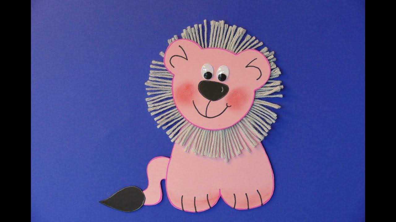 tiere l we lion basteln aus papier und wolle basteln mit. Black Bedroom Furniture Sets. Home Design Ideas