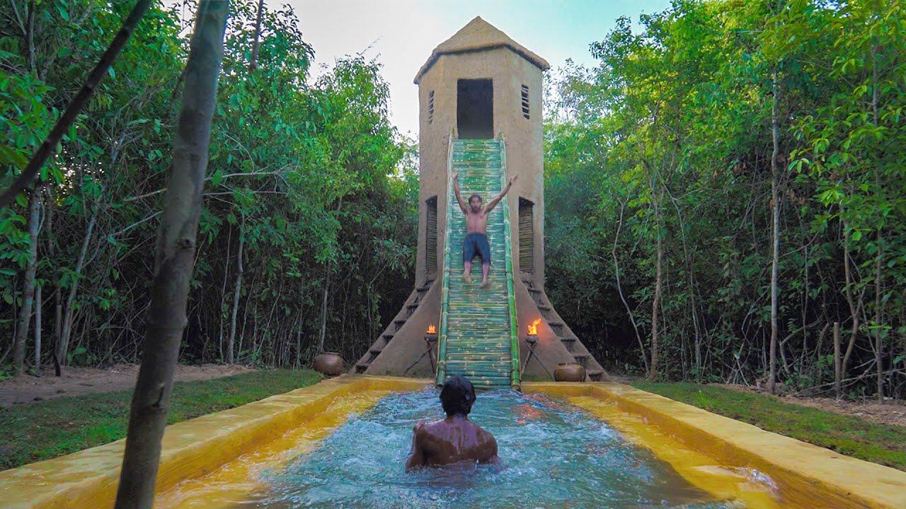 Build Three Story Villa Bamboo Water Slide To Swimming Pool