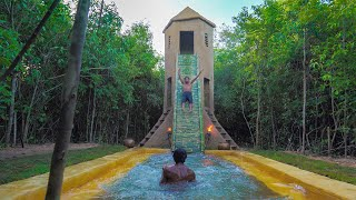 Build Three Story Villa Bamboo Water Slide To Swimming Pool