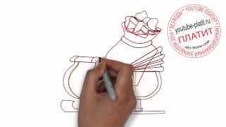 как нарисовать карету Санта Клауса самостоятельно карандашом