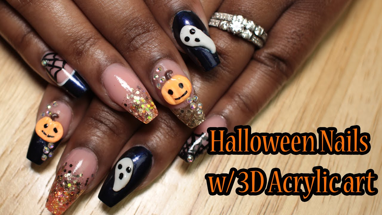 Acrylic Nails | Halloween Nails w/ 3D acrylic art - Born ...