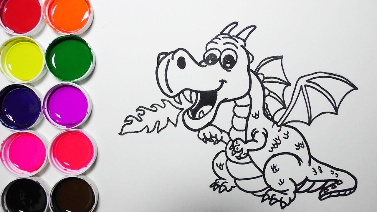 Dragones Feroces Para Colorear: Dibuja Y Colorea Un Dragon De Arco Iris