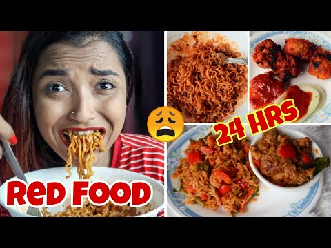 I ATE RED FOOD FOR 24 HOURS CHALLENGE - FULL DAY OF EATING Vlog - SPICY RED FOOD ONLY | INDIA