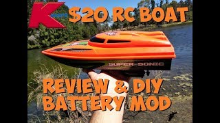KMART $20 RC BOAT REVIEW & DIY BATTERY MOD
