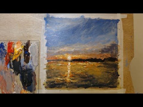 Impressionistic landscape painting with acrylic paint and palette knife - beginner tutorial