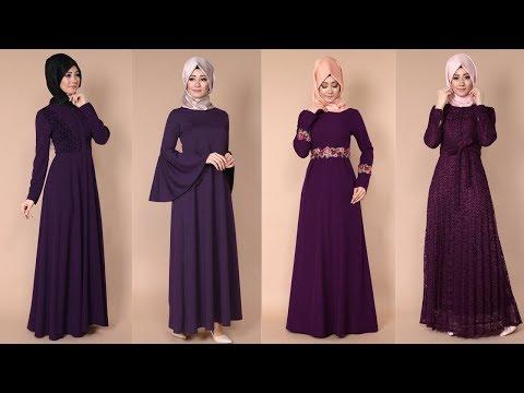 07dd525075e8b Modaselvim 2017 Mürdüm Rengi Tesettür Elbise Modelleri 1/2 - YouTube
